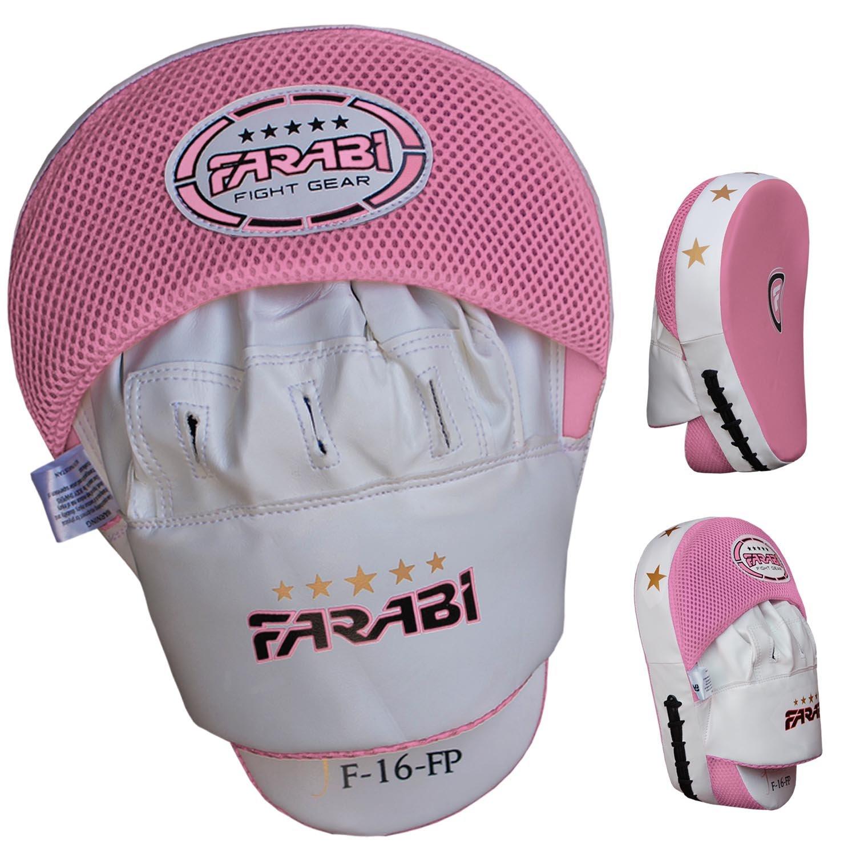 Farabi Curved Focus almohadillas, Gancho y Jab guantes, boxeo almohadillas de entrenamiento, cuero real Farabi Sports FP-1008