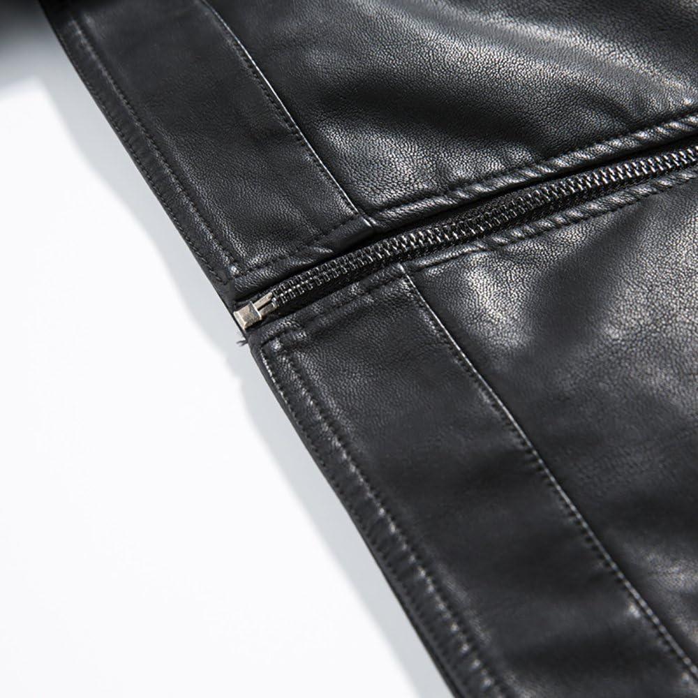 QZUnique Mens Winter Short PU Leather Jacket