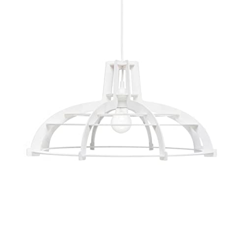 Wooden pendant light for kitchen Unique ceiling light fixture ALREADY ASSEMBLED White wood lamp shade for minimalistic living room dining room scandinavian and modern interior styles