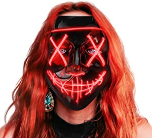 Sago Brothers Scary Halloween Mask, LED Light up Mask Cosplay, Glowing in The Dark Mask Costume 3 Lighting Modes, Halloween Face Masks for Men Women Kids - Red