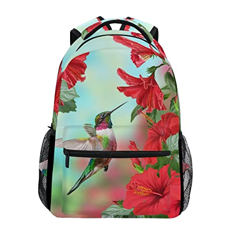 Amazoncom Wxlife Animal Hummingbird Hibiscus Flower Backpack