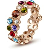 """Yoursfs """"Fireworks Sparkles"""" Dazzling Multicolor Crystals Ring Hollow Out Wedding Bands for Women 18ct Rose Gold Plated Dress Rings Girl's"""