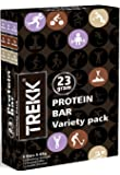 TREKK Protein Bar Variety Pack (Roasted Coffee, Double Chocolate And Blueberry Cheesecake Flavor)-390 g(6 X 65g)(Box of 6 Bars)