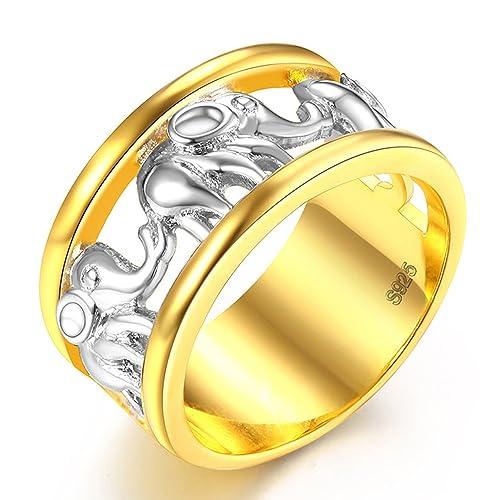 lilileo joyas 11 mm oro y plata aleación anillo de elefante hueco para anillos de boda