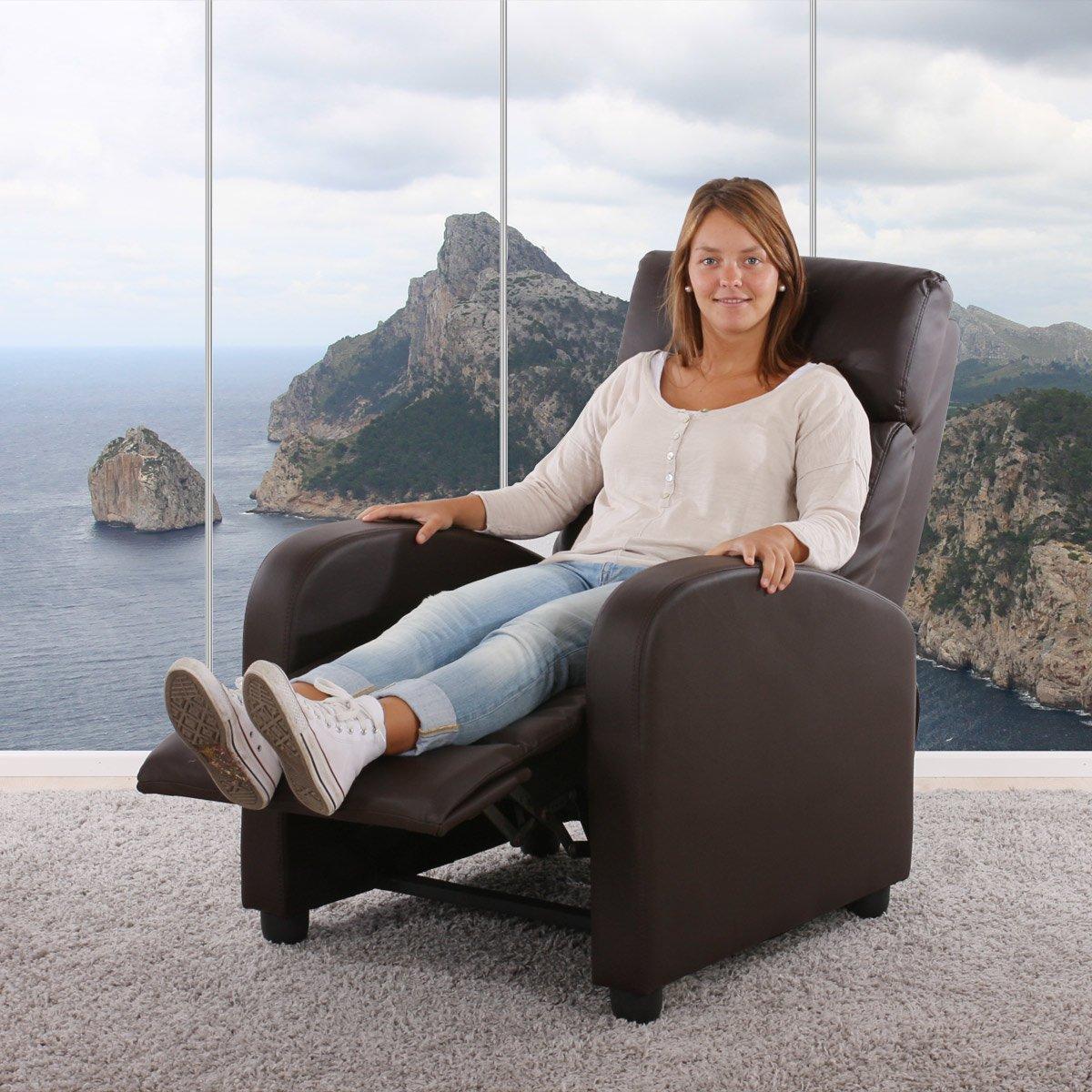 Kunstleder ~ braun Fernsehsessel Relaxsessel Liege Sessel Denver