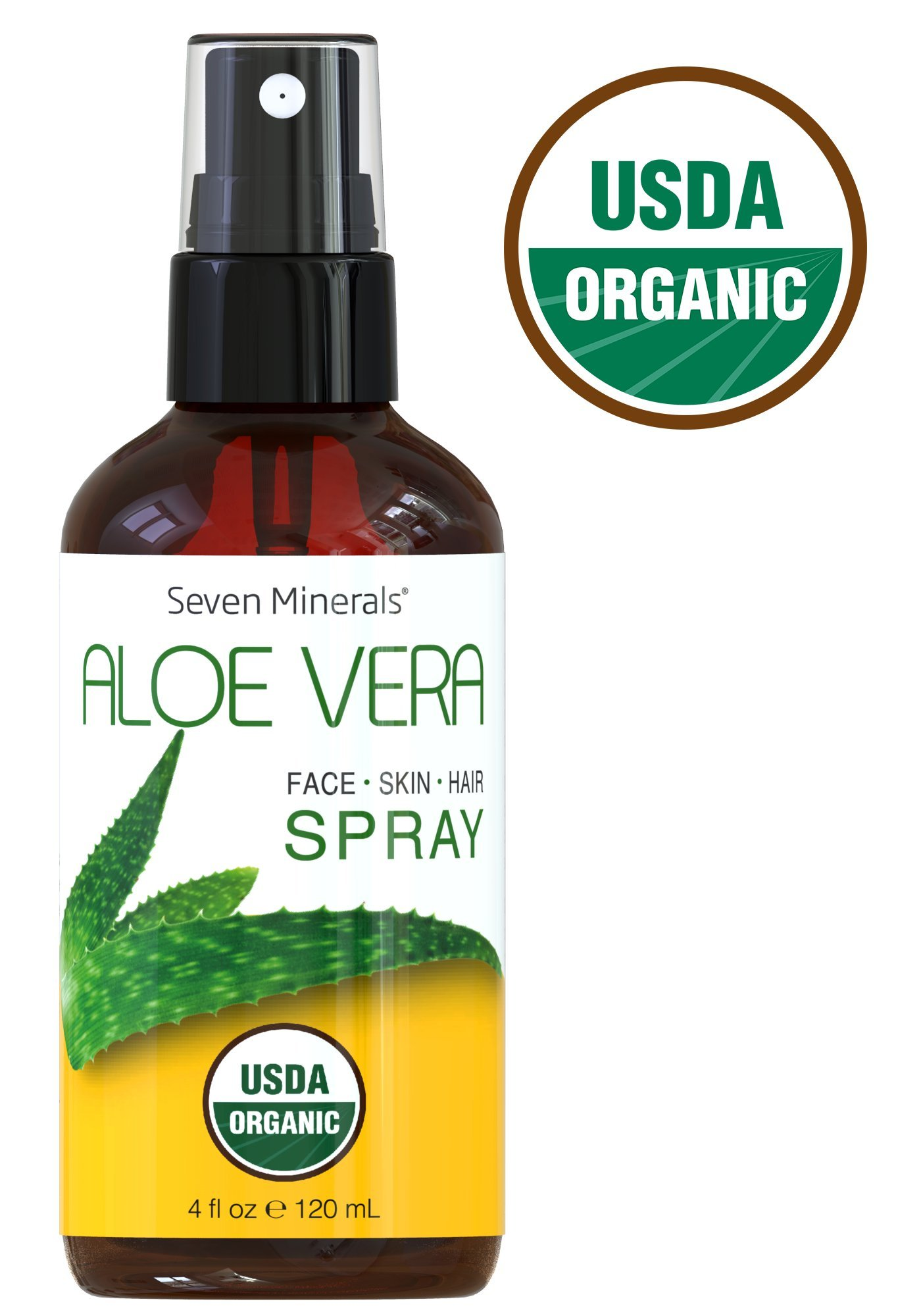 #1 USDA Organic Aloe Vera Spray with 100% Pure Organic Aloe. Alcohol-Free, No Toxic Chemicals, Thickeners Or Preservatives - For Healthy Skin, Face, Hair, And After Sun Relief (4 fl oz)