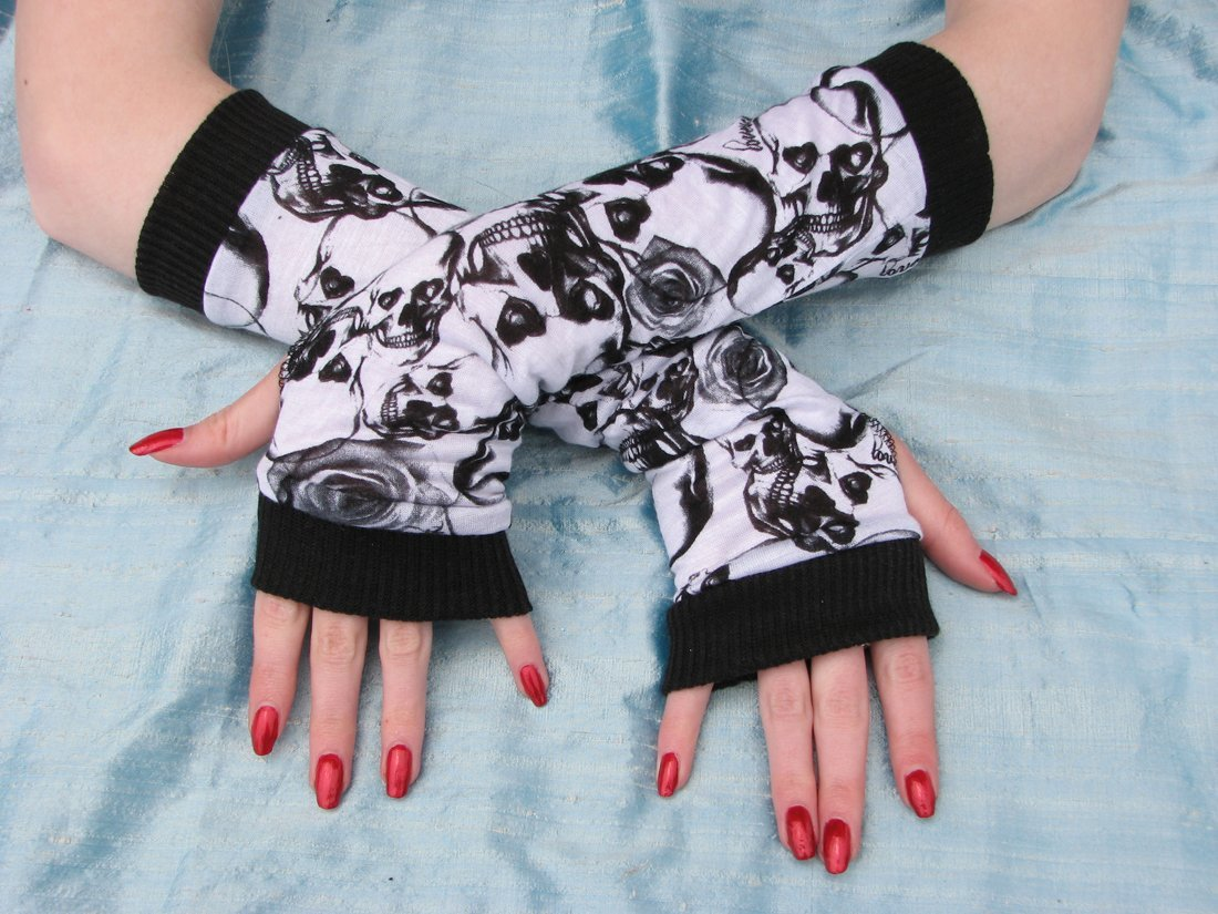 Black Rose Skull Arm Warmers Tattoo Skulls Fingerless Gloves Halloween