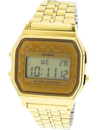fbf5b2e642f Casio - A159WGEA-9A Vintage - Unisex Watch - Quartz Digital - LCD Dial Gold  Plated Steel Strap  Casio  Amazon.co.uk  Watches