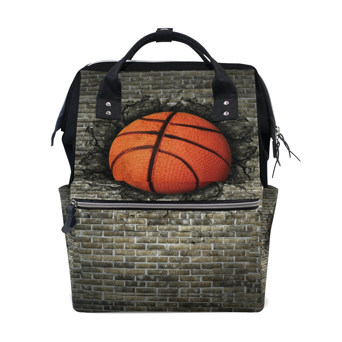 WOZO Basketball Embedded in Brick Wall Multi-function Diaper Bags Backpack Travel Bag