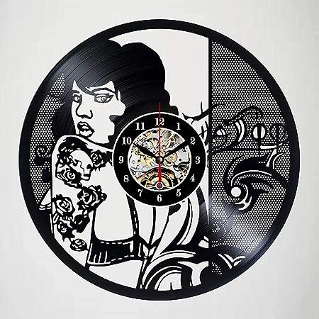 SKYTY Chica Tatuaje Retro Vintage Reloj De Pared Disco De Vinilo ...