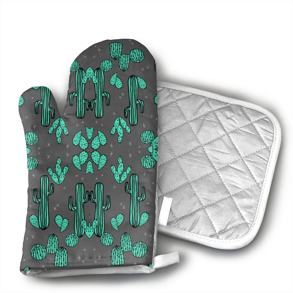 HGUIDHG Cactus Southwest Desert Oven Mitts+Insulated Square Mat,Heat Resistant Kitchen Gloves Soft Insulated Deep Pockets, Non-Slip Handles
