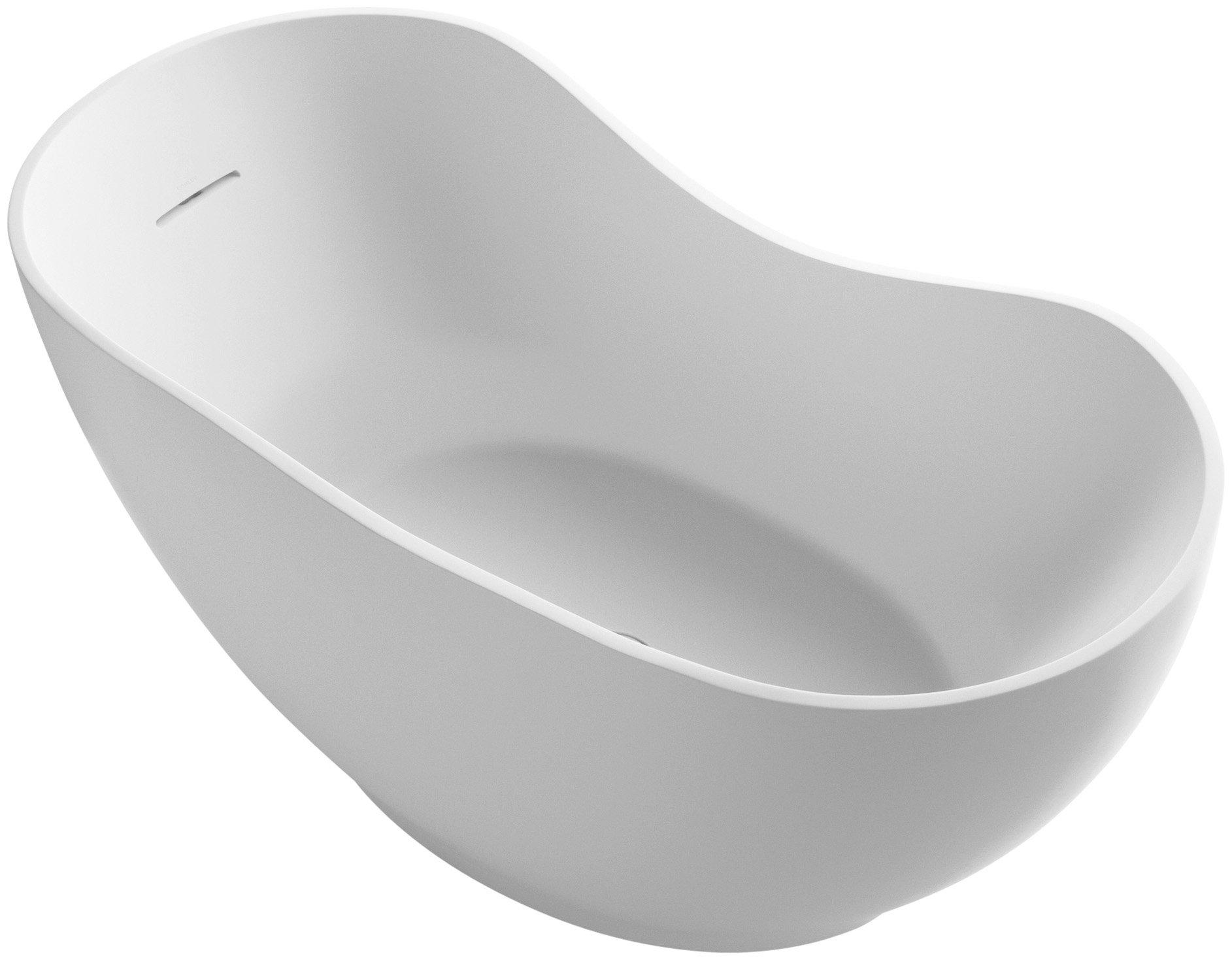 KOHLER K-1800-HW1 Abrazo Freestanding Bath, Honed White by Kohler
