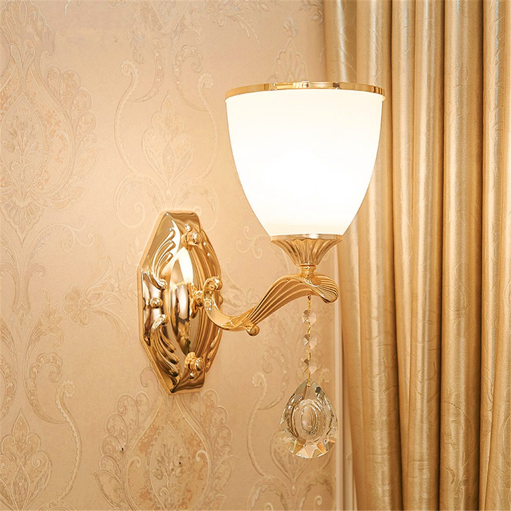 MMYNL Moderne E27 Antik Wandlampe Vintage Wandlampen Wandleuchten für Schlafzimmer Wohnzimmer Bar Flur Bad Küche Balkon Bedside Room Hotel Simple Crystal Height 33CM Wandleuchte