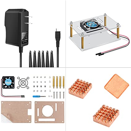 Raspberry Pi 3 Case Acrylic Protective Cover & Cooling Fan & Micro USB  Power Supply 5V 2 5A with 3PCS Copper Heatsink 4 in 1 Professional Kit for