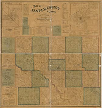 Jasper County Iowa Map.Amazon Com 1871 Map Of Jasper County Iowa Size 22x24 Ready To