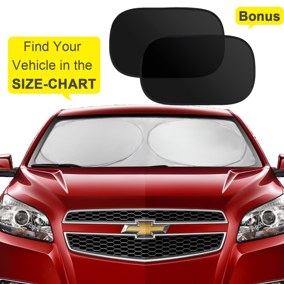Windscreen Sun shade, KMMIN Car Sun Shade Keeps Vehicle Cooler up to 50%, Luxurious 210T Fabric Blocks 98% UV Heat Collapsible Car Sun Protector with 1 Front Window 2 Side Window Flexible Size for Car (160x89CM+2x50x30CM)