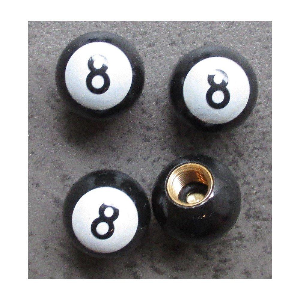 Inconnu hotrodspirit - Bouchon Valve de Roue (x4) 8 Ball Blanc Auto Moto Billard