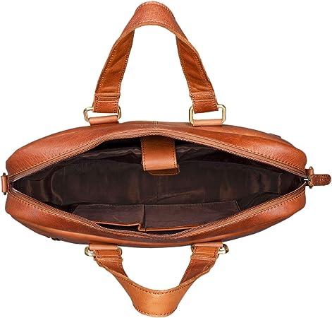 STILORD 'Jonte' Vintage Bolso de Trabajo Cuero para Hombre y Mujer Bolso Negocios para Portátil 13,3' Auténtica Piel, Color:girona marrón