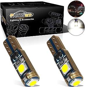 Partsam T5 73 74 Error Free Speedometer Indicator LED Light Kit Instrument Panel Gauge Cluster Dashboard LED Light Bulbs - Canbus/White 2Pcs