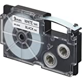 Casio XR-9WE-S-DJ/XR-9WE1-W-DJ Label Printer Tape (Black and White)