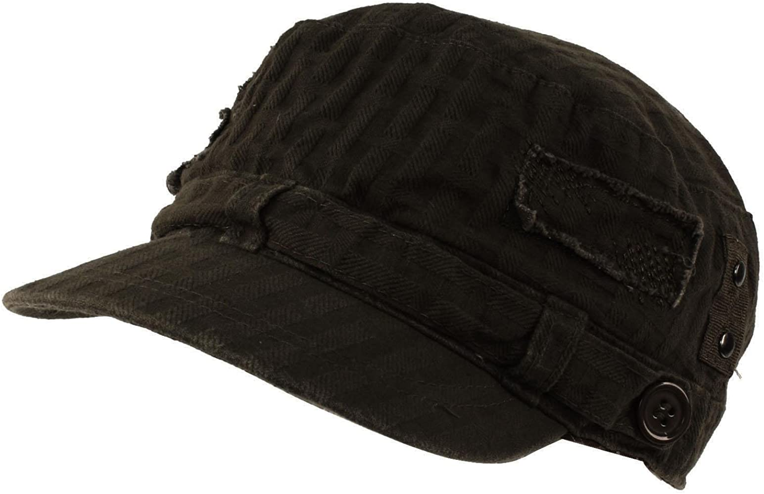 88b3b1d0 D&Y Unisex Distressed Patched Button Waffle Cadet Military Cap, Black