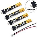 4pcs 260mAh HV 1S Lipo batería 30C 3.8V para pequeña Whoop Blade Inductrix JST-PH 2.0 Conector (1S LIHV, 260mah de Largo)