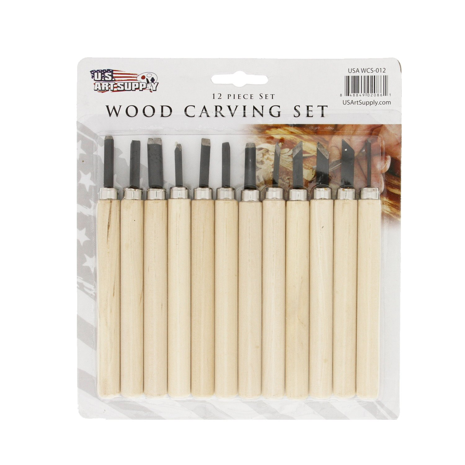 US Art Supply 12-piece Wood Carving Tool Set WCS-012