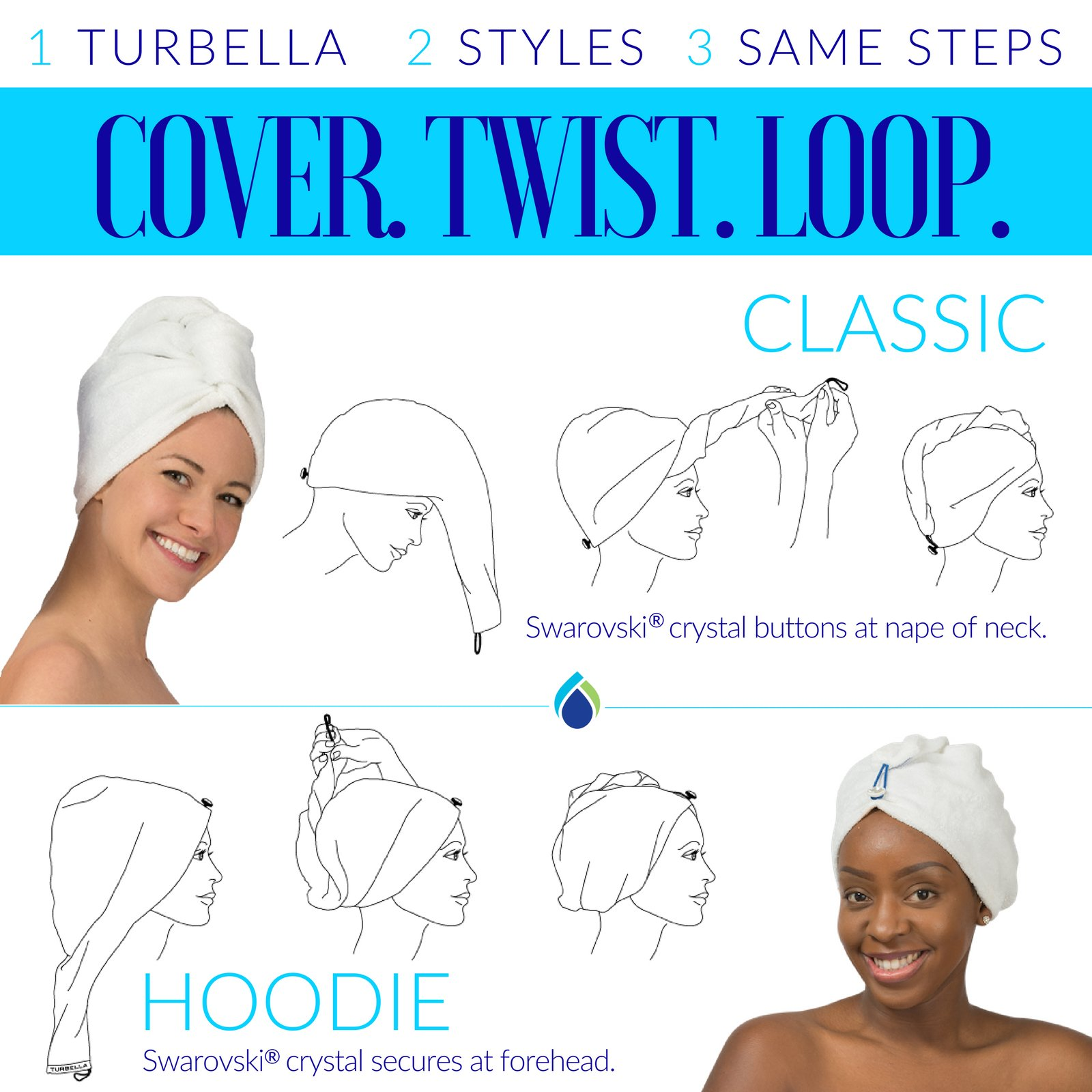 ENWRAPTURE The Only Luxury Hair Towel Wrap Made In USA | Swarovski Button | Nanofiber Beats Microfiber To Dry Wet Hair Fast | Twist Turban In 2 Easy Styles | Large For Long Or Curly | GIFT Travel Case by TURBELLA (Image #6)