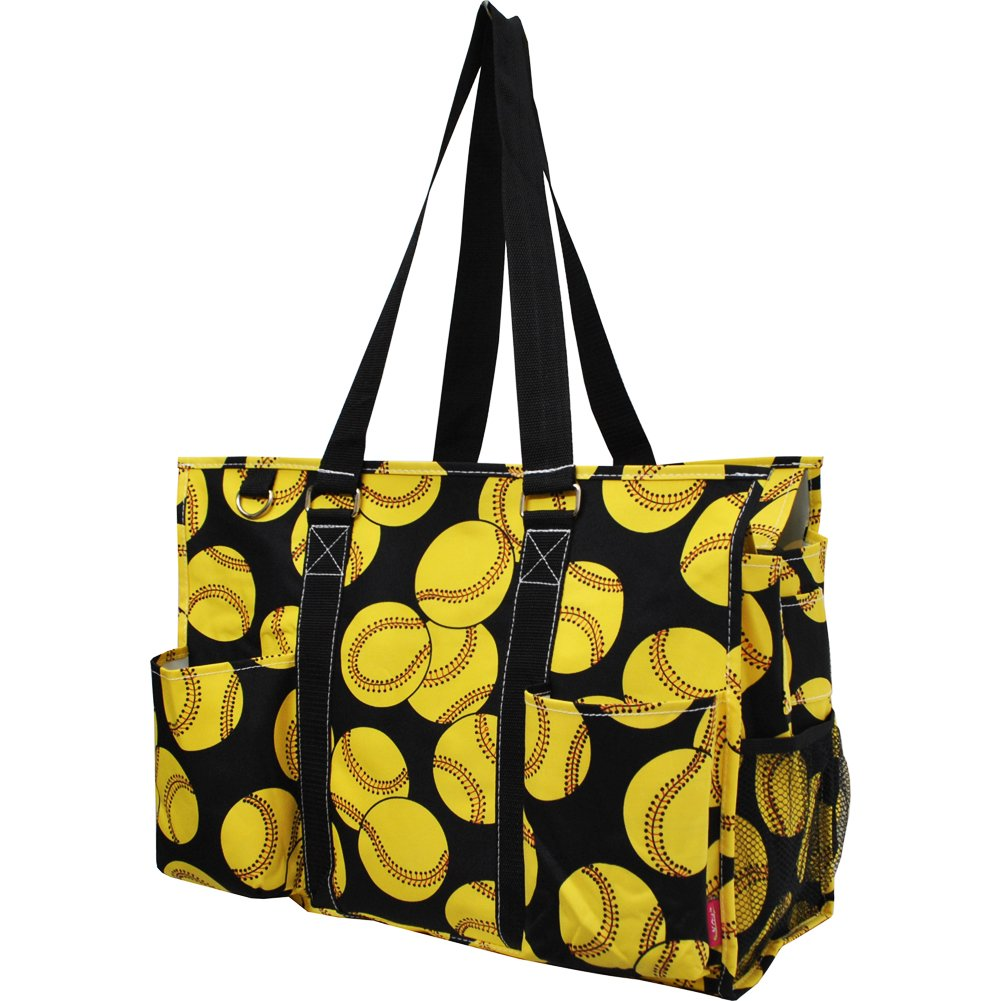 Softball Print NGIL Large Travel Caddy Organizer Tote Bag