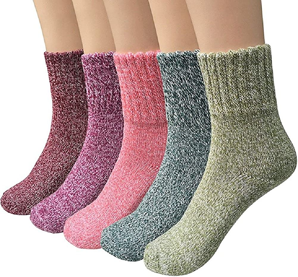 ToullGo Damen Winter Socken Warme Dicke Wolle Stricksocke Bunte Farben Baumwollsocken Einheitsgröße Atmungsaktiv Warm Weich 5er Pack