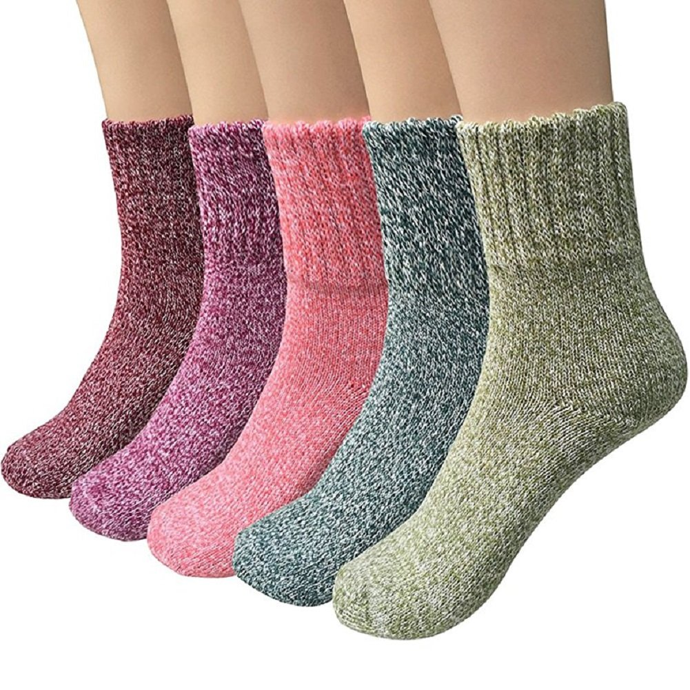 ToullGo Damensocken,Wollsocken, Gestrickte Socken,Warme Dicke Bunte Farben Wollsocken - 5 Paar Wollsocken Stricksocken Winter Damensocken Thermosocken Socken