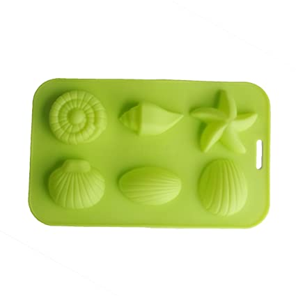 4b619ba6a Amazon.com: Yunko 6 Cavity Starfish Conch Shell Shape Baking Silicone Cake  Mold Ice Cube Mold Cookie Mold Soap Candle Mould Assorted Color: Kitchen &  Dining