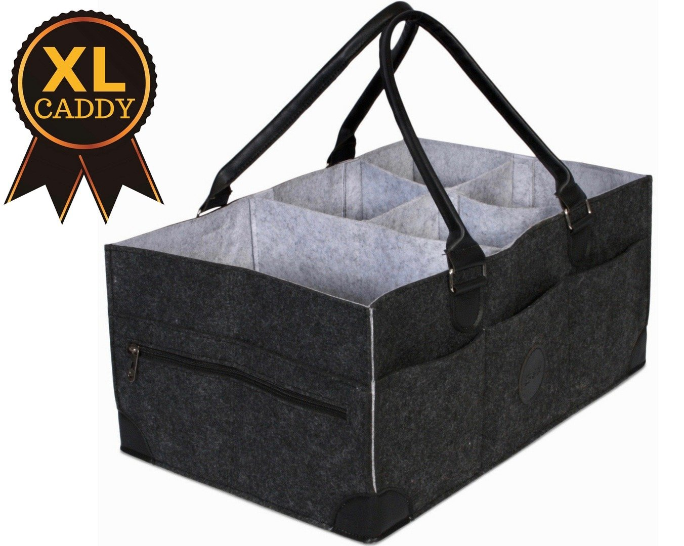 B & L Babies Extra Large Baby Diaper Caddy | Grey | B & L Products