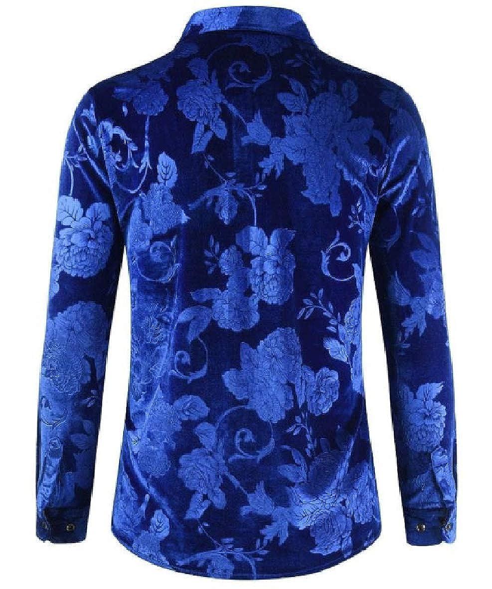 Tootless-Men Gold Velvet Regular-Fit Long Sleeve Autumn Winter Floral Printing Shirt