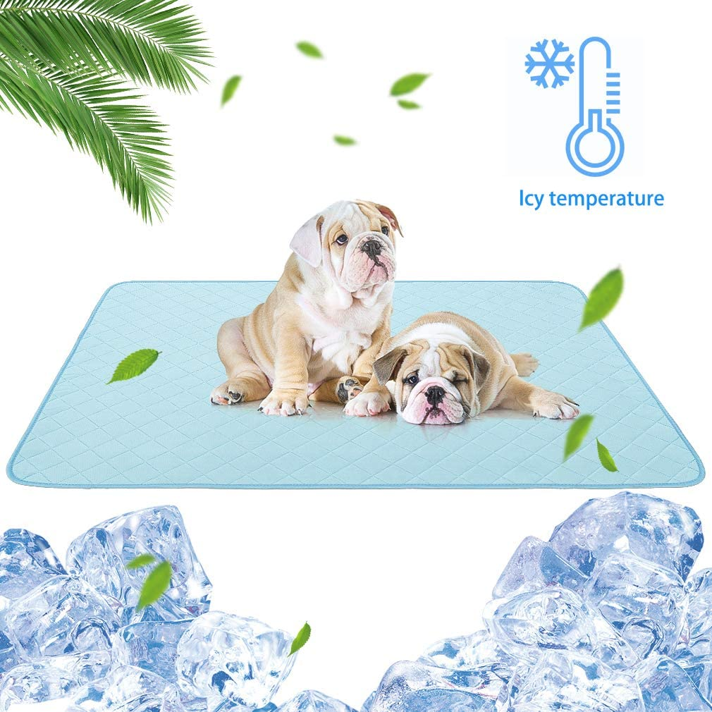 "KOOLTAIL Dog Self Cooling Mat - 47.3"" X 28.4"" Transient Cool Feeling Pads, Waterproof Bottom, Washable Reusable Dog Pee Pad for Summer"