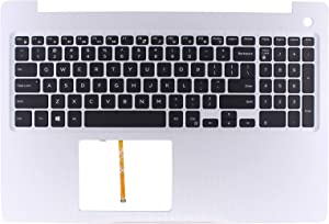 XtremeAmazing Silver Palmrest Upper Case with Backlit Keyboard MR2KH for Dell Inspiron 15 5570 5575