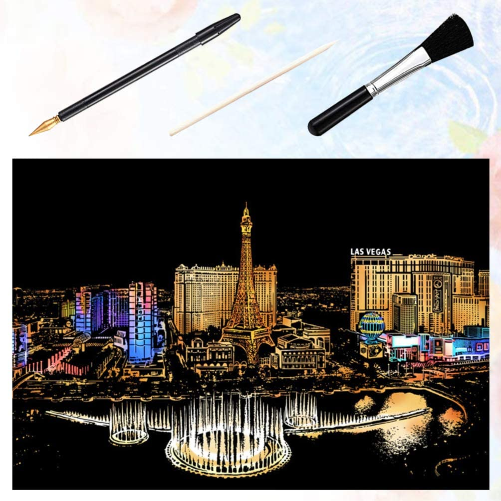 Exceart 4 Pcs Night View Scraping Painting DIY Night View Scratch Engraving Scratch Paper Tools Kit for DIY Craft Drawing