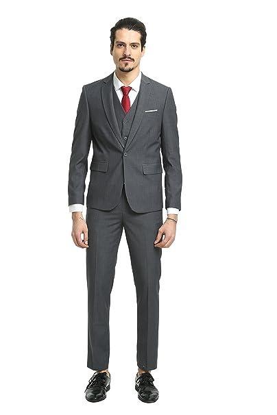 Amazon.com: nitree trajes de hombre Slim Fit 3 piezas un ...