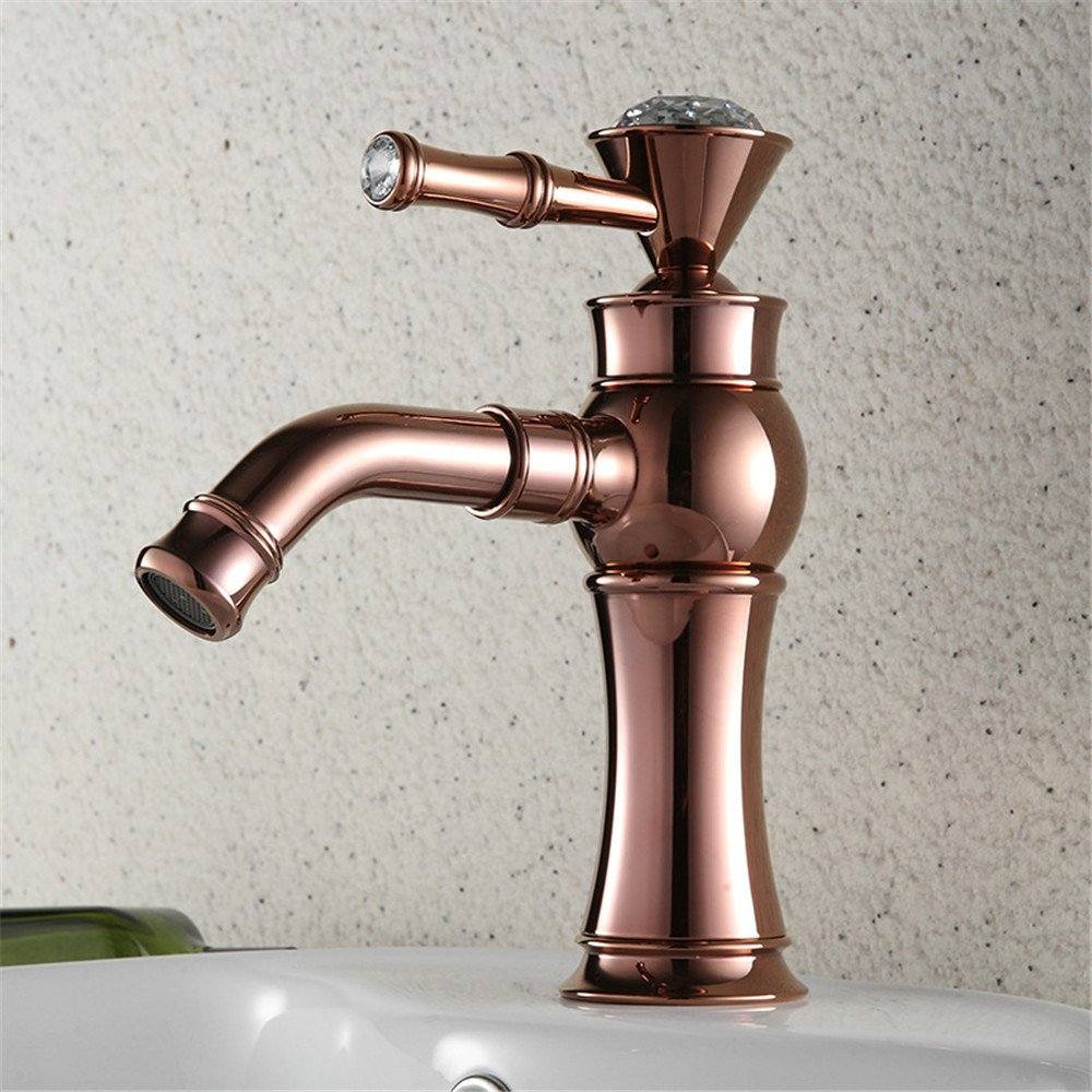 Bijjaladeva Antique Bathroom Sink Vessel Faucet Basin Mixer Tap pink gold mixing of hot and cold water tap off Kai-type water taps on the bath tub faucet single on-the-water faucet