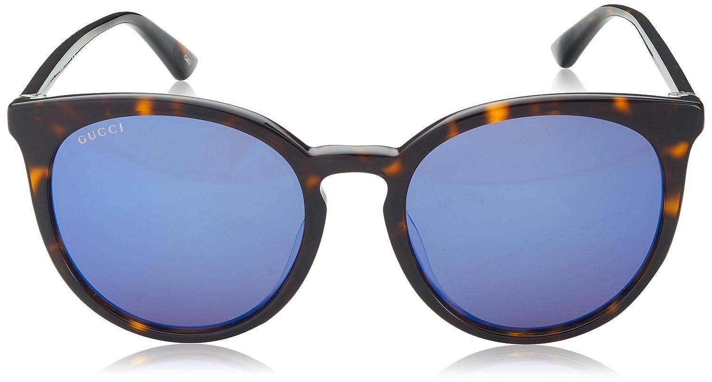 84958aa02d38 Amazon.com: Gucci GG 0064SK 003 Havana Plastic Round Sunglasses Blue Mirror  Lens: Clothing