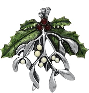 product image for DANFORTH - Mistletoe & Holly Brooch Pin - Pewter - 2 3/8 Inches - Handcrafted - Winter Jewelry - Made in USA