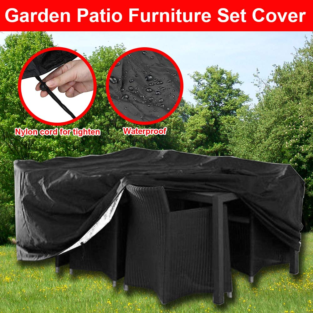 profei 6 Seat Rectangular Table Cover Patio Cover Waterproof Protection against Wind and Weather - Protective Garden Furniture Cover for square Garden Tables and Protective Cover for Garden Lounge pengfei