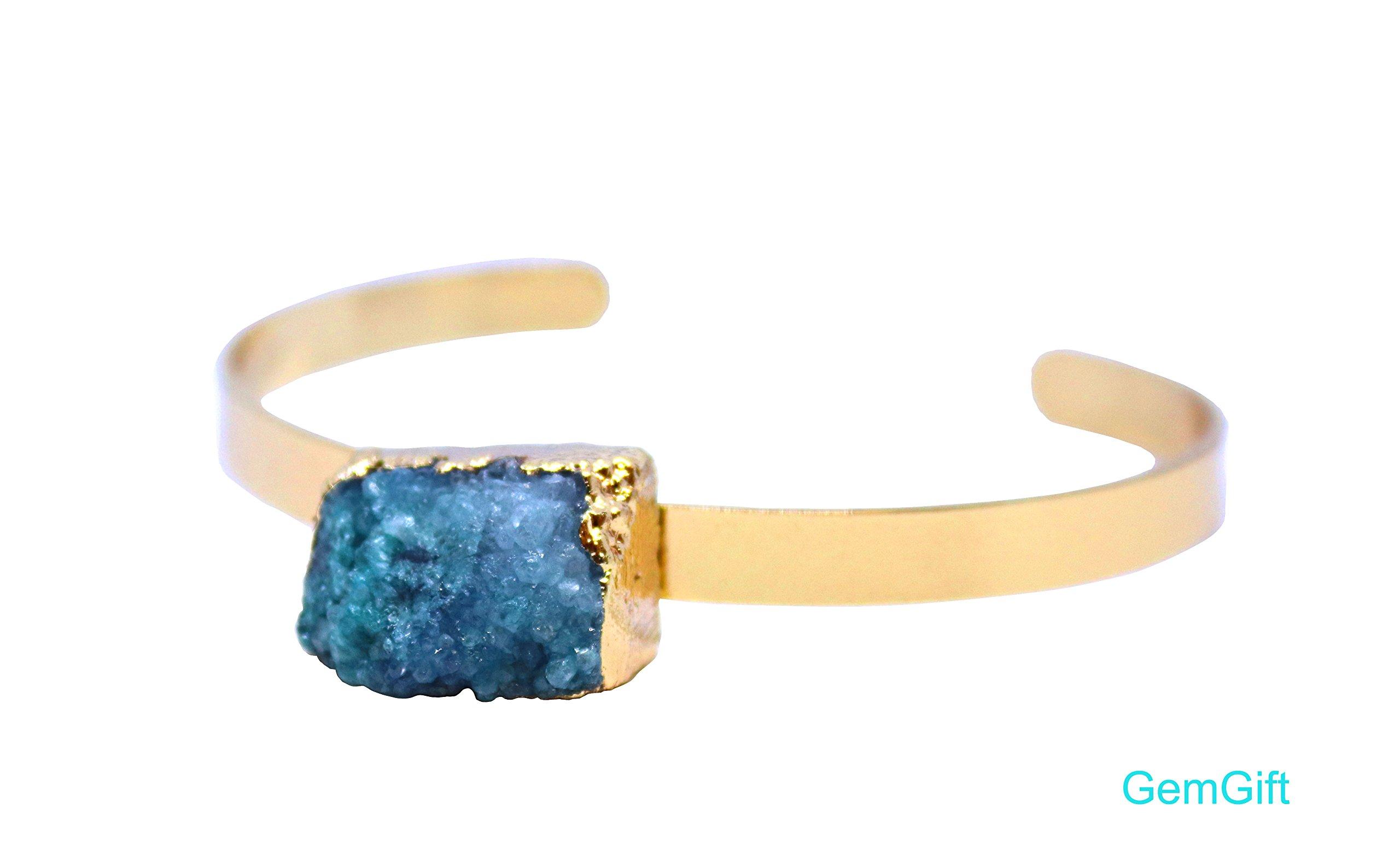 GemGift Natural Druzy bangle bracelet - Amethyst bangle bracelet - Crystal Bar bracelet - Birthday gift (Short 4)