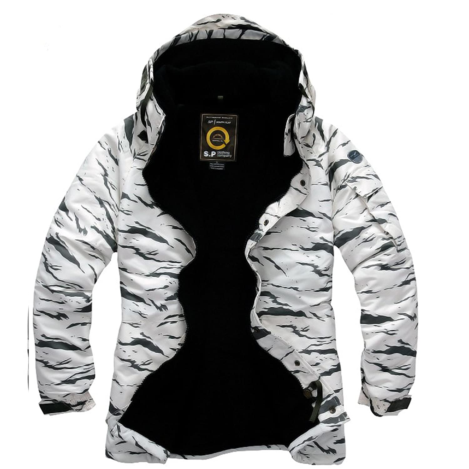 4e3b81c203 Amazon.com  Southplay Mens Waterproof Sky-snowboard Military Jacket White  Camo (Small)  Clothing