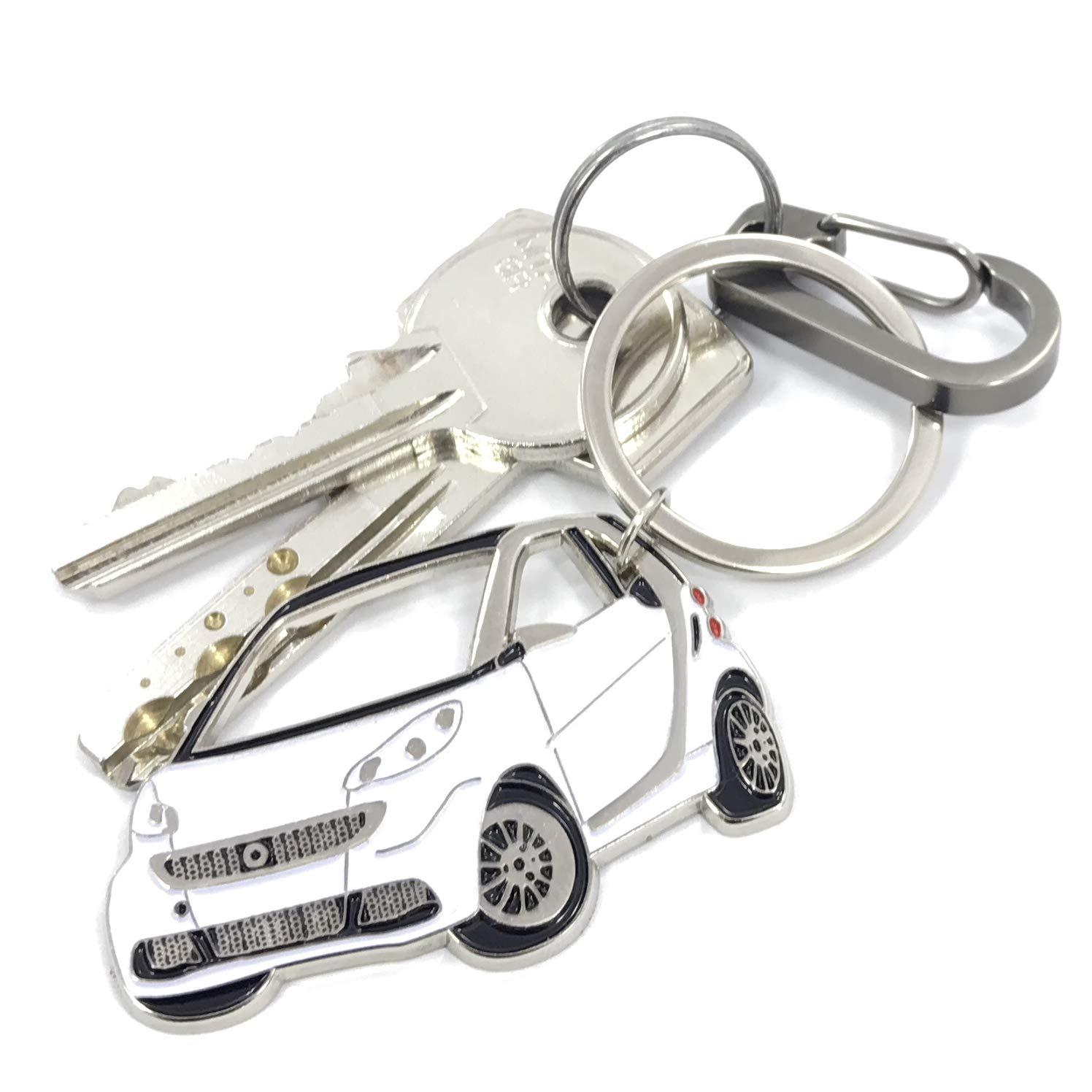 3dcrafter Smart FORTWO Porte-cl/és pour Accessoires de Voiture /émail M/étal chrom/é Cadeau pour Le conducteur Red