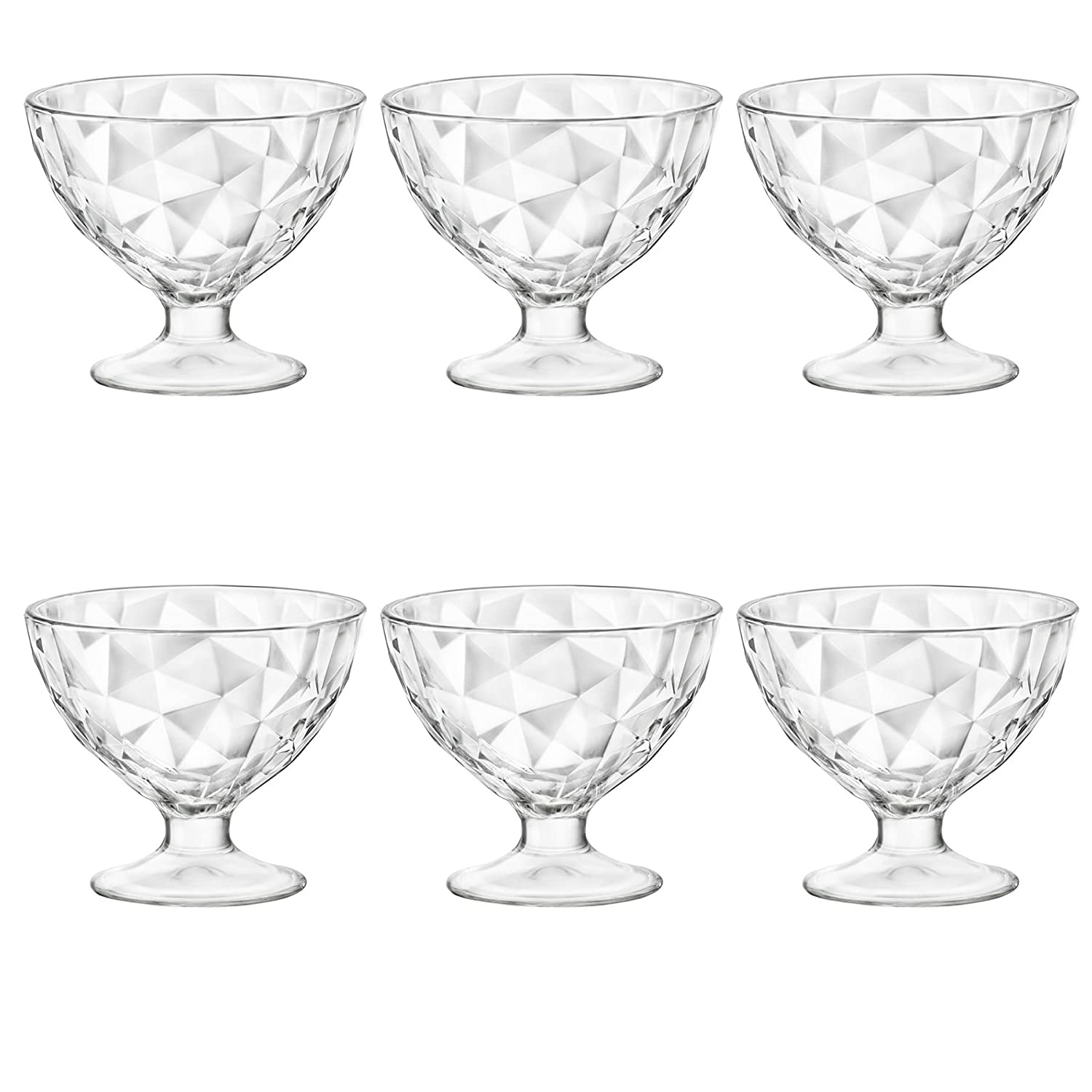 Bormioli Rocco Diamond Dimpled Clear Stemmed Ice Cream Sundae Dessert Bowls - 360ml - Pack of 6
