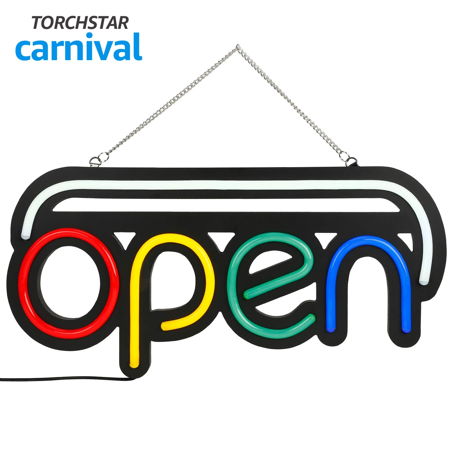 """Open LED Neon Light Sign, 19.7"""" x 9.8"""", Ultra Bright Neon Multicolor Style, RGB Letter Window Displaying Light, Bar, Restaurant, Store, Salon, Gas Station, Motel, Door"""