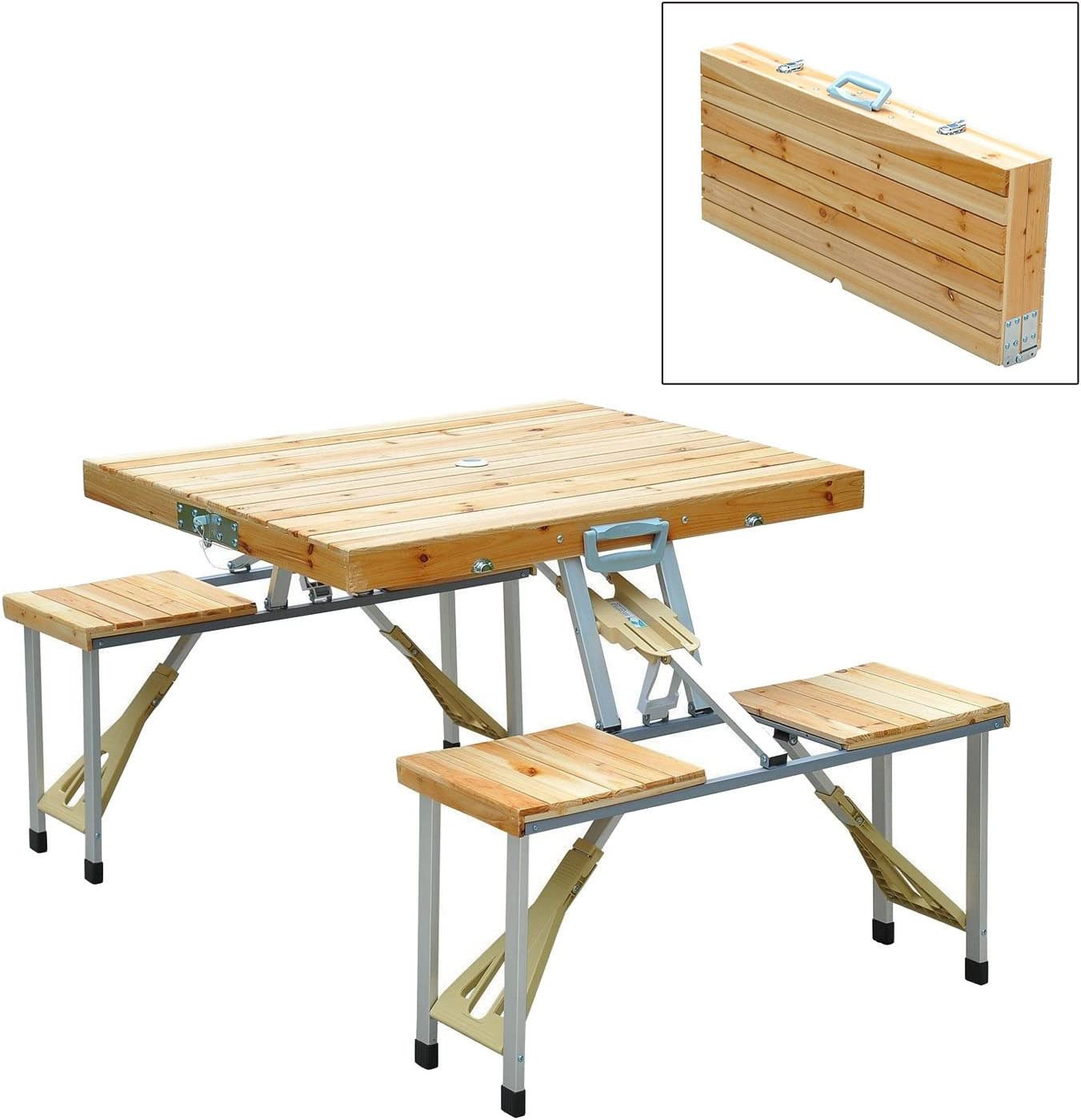 - Amazon.com: Wooden Camping Picnic Table Bench Seat Outdoor