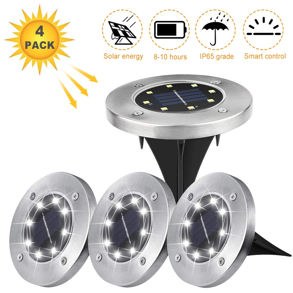Solar Ground Lights,8 LED Disk Lights Solar PoweredWaterproof Garden Pathway Outdoor In-Ground Lights for Yard,Deck,Lawn,Patio and Walkway,White (4 Pack) (White)