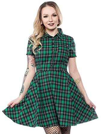 de145af52f7 Sourpuss Plaid Button Down Dress Green at Amazon Women s Clothing store
